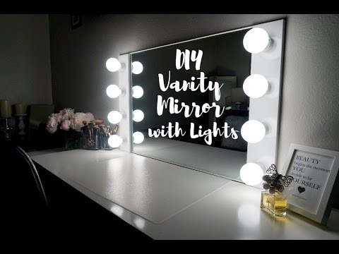 diy lighted vanity mirror. DIY VANITY MIRROR WITH LIGHTS  UNDER 100 SimplySandra
