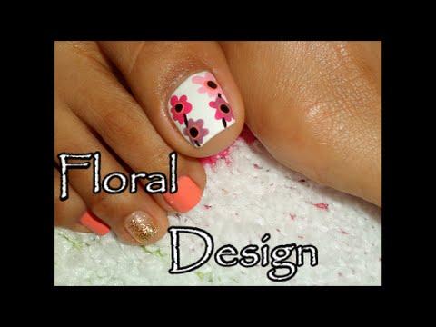 Dise o floral para las u as de los pies facil toe nail - Disenos para las unas ...