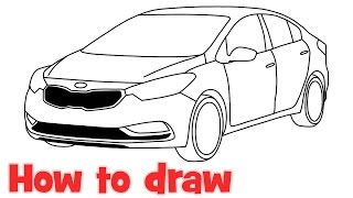 How to draw a car Kia Forte 2016 step by step