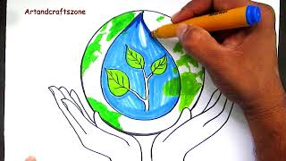 save water save life /topic drawing #fast video  - Смотреть