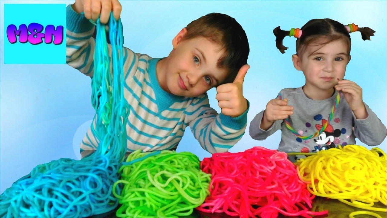 Pâtes Colorée სახალისო ექსპერიმენტი-ფერადი მაკარონი Challenge for kids  Mate and Nina