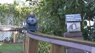 Blue Comet with repowered Locomotive runs on the Broken Bush and Round Top Garden railroad