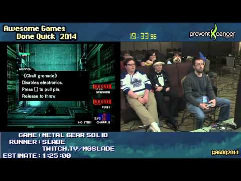 Metal Gear Solid :: SPEED RUN (1:08:57) (Extreme) by Slade #AGDQ 2014 (PS1)