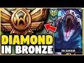 DIAMOND RENEKTON GOES INTO BRONZE FOR THE FIRST TIME! HARD SMURFING IN BRONZE! - League of Legends