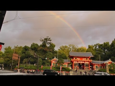 雨と風と虹の中の京都  Kyoto in the rainbow and the rain and wind