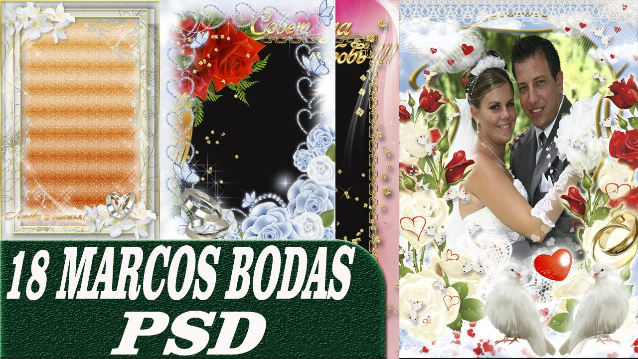 Pack Marcos Bodas psd con Capas Editables - Plantillas Photoshop 1Gb ...