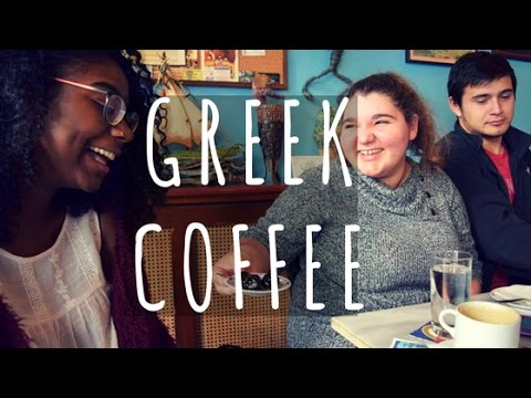 One of our Modern Greek classes at a cafe!