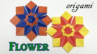 Easy origami flower ornament | How to make a paper flower tutolial step by step thumbnail