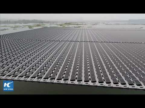 LIVE with a drone: Floating solar farm in east China's Anhui, one of the world's largest!