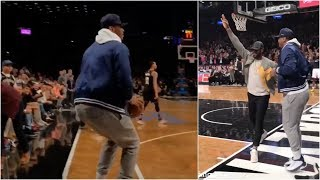 Carmelo Anthony catches the ball court-side & wants to shoot it during D Wade's last game