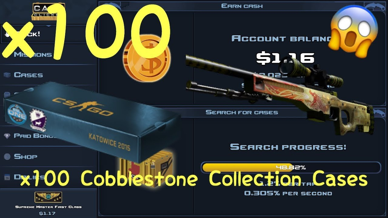 29343d119 x100 Cobblestone Collection Case Opening! (=$4500, Dragonlore) | Case  Clicker - YouTube