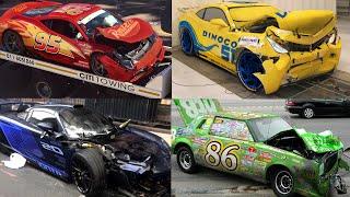 CARS 3 Real Life Car Crash - Lightning McQueen, Cruz Ramirez, Jackson Storm, Doc ...  Tim Tim TV
