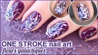 ONE STROKE nail art fleur galaxie