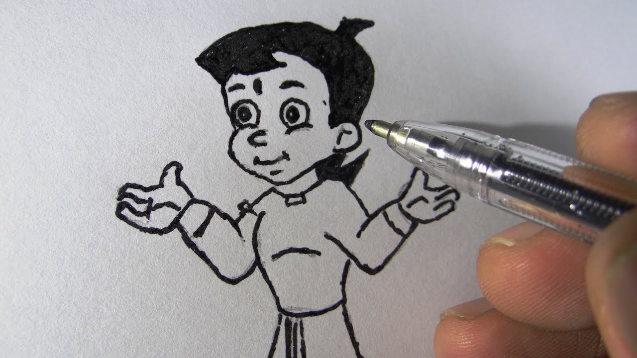 Draw Chotta Bheem Kids Step With