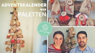 Adventskalender aus Europaletten selber basteln DIY - Kalender aus Paletten selber bauen
