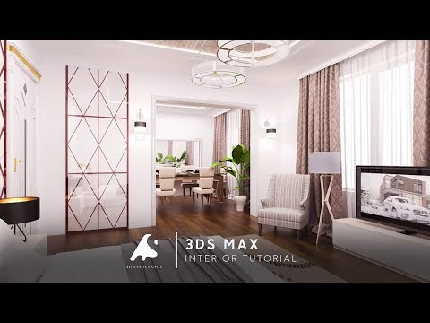 Autocad to 3Ds Max   Tutorial Modeling Kitchen Living modeling vray