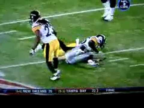 Wes Welker layed out by Steelers Ryan Clark