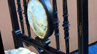 Antique Victorian Era Slipper Chair with Ebonized Finish