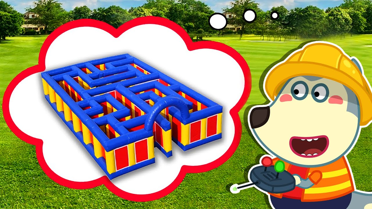 LYCAN Arabic 🌟 Lycan Plays in Giant Inflatable Maze Challenge | Lycan's Funny Stories For Kids