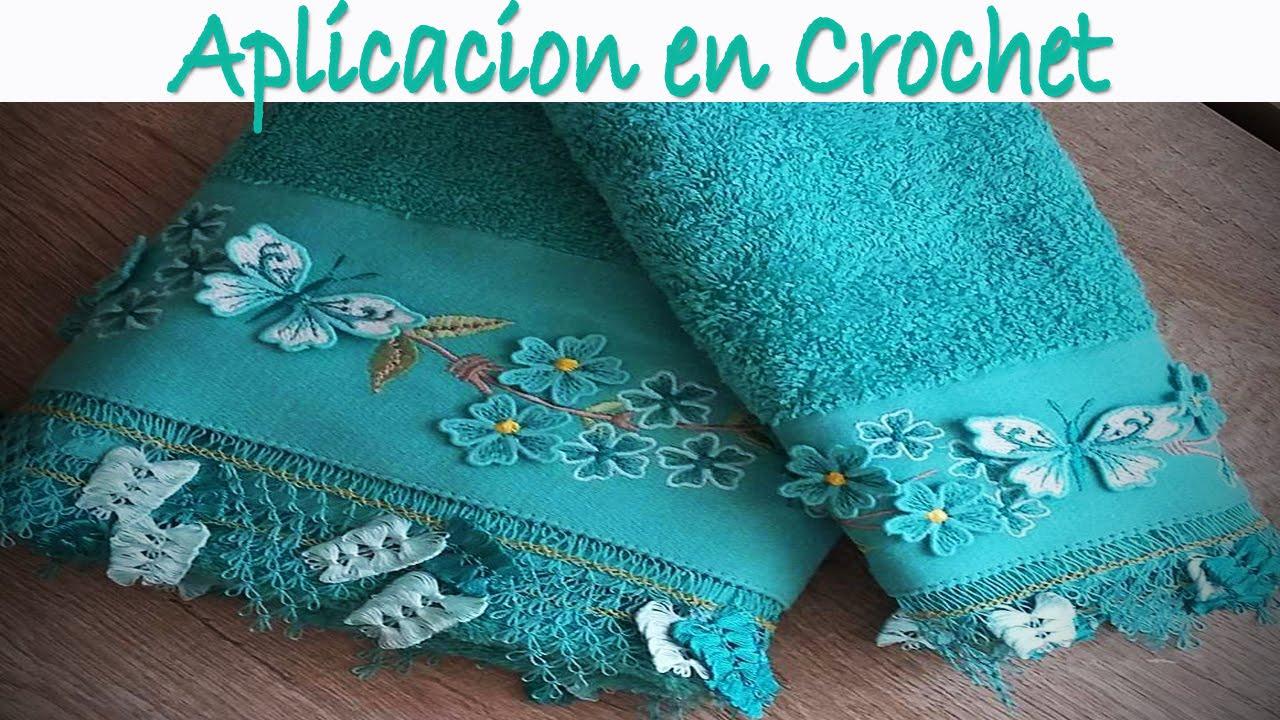 Toalla con aplicacion tejida a crochet youtube - Aplicaciones en crochet ...