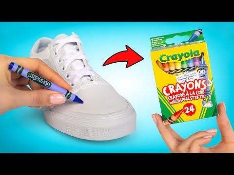 👟🎨Qué tal si reciclamos las viejas tenis con crayones?🖍👟