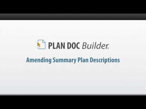 Amending Summary Plan Descriptions   PLAN DOC Builder