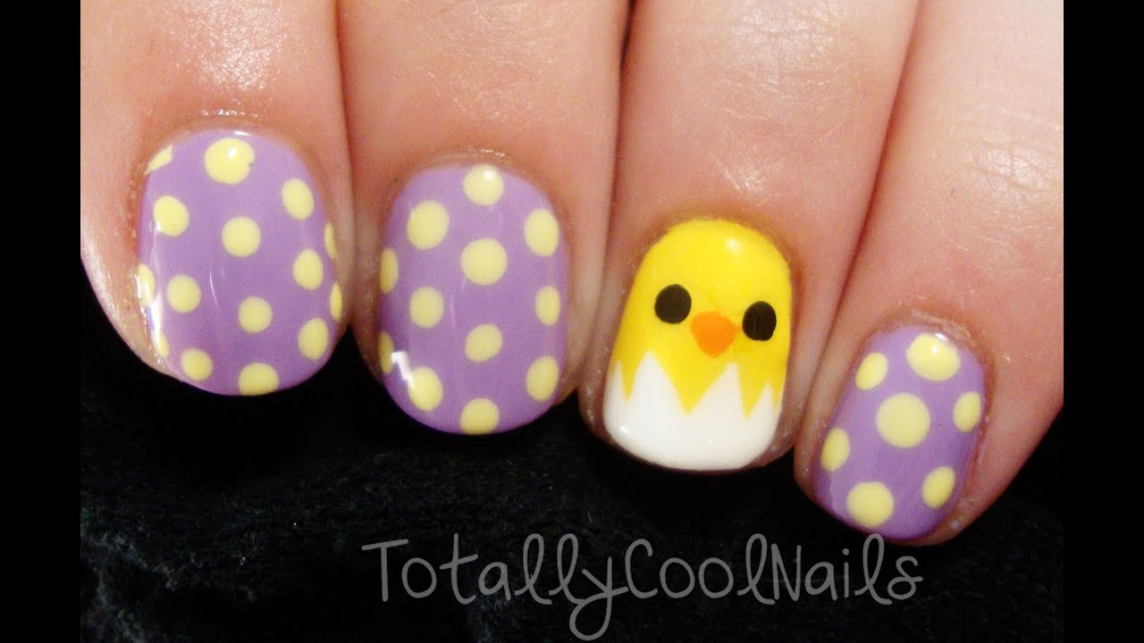 Simple Easter Chick Nails - YouTube