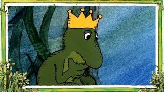 Der froschkönig froschprinz verliert seine güldene kugel, eine luftblase aus gold. ein mädchen am ufer fängt sie ihm wieder ein. frosch hat versproch...