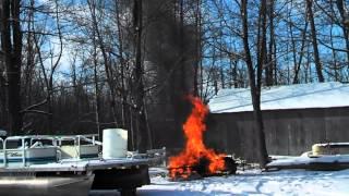 Burning snowmobile
