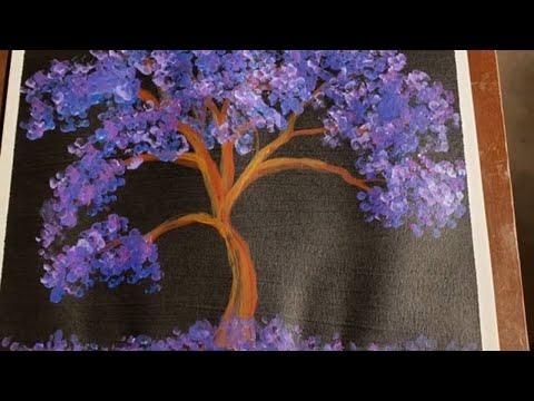 Simple Purple Tree on black Easy Acrylic Painting