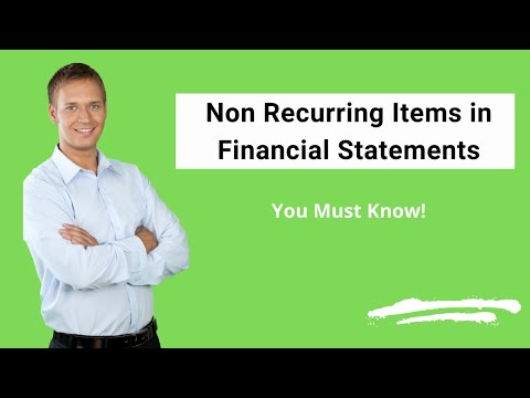 Non Recurring Items in Financial Statements