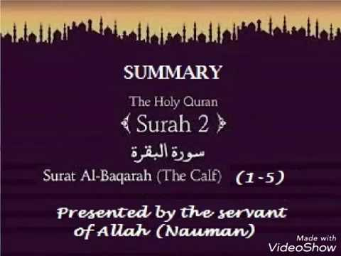 Summary on Surat Al-Baqarah (1 -5)- (The Calf)