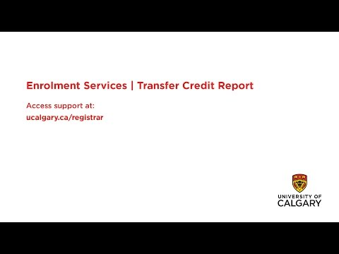 Course Registration: Checking your transfer credit report