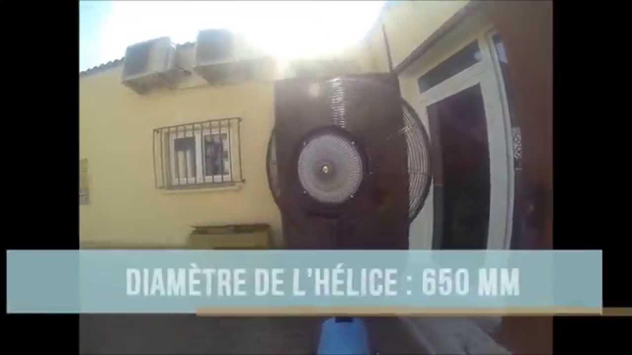 ventilateur d 39 air brumisateur d 39 air mobile pour terrasse 260 w d monstration youtube. Black Bedroom Furniture Sets. Home Design Ideas