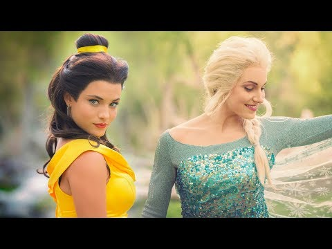 PRINCESS DANCE BATTLE! Belle vs Elsa! // (Full Frame + New Song)