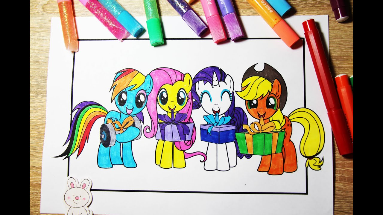 Applejack and rainbow dash coloring pages - My Little Pony Coloring Book Applejack Rainbow Dash Rarity Fluttershy Mlp Coloring Video