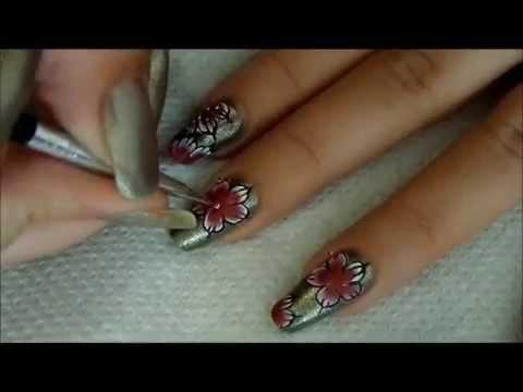 """tutoriel nail art fleurs one stroke, """"fleurs d'Orient"""""""
