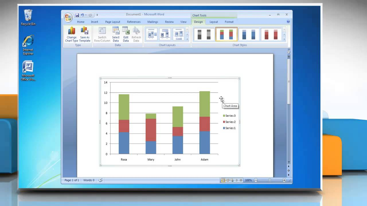 How to make a Column (Vertical Bar) Graph in Microsoft® Word 2007 ...