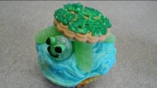 Decorating Cupcakes #38 : Sea Turtle