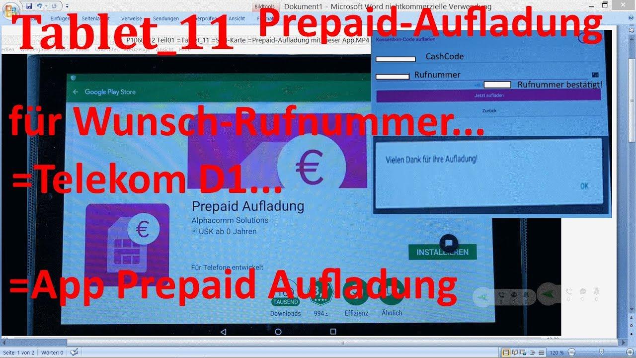 D1 Karte Aufladen.W 0369 Tablet 11 Telekom App Prepaid Aufladung Für Wunsch Rufnummer