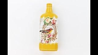 Decoupage bottle - diy painted bottle - Decoupage Tutorial - Decoupage for beginners