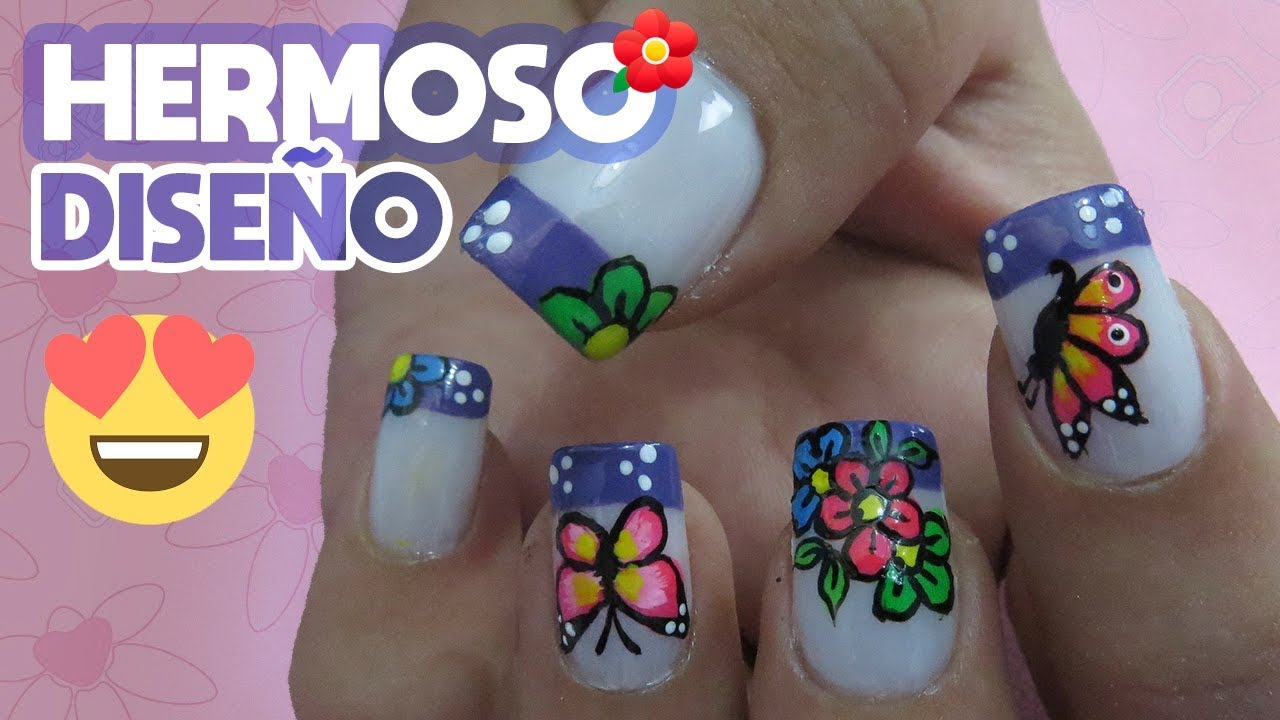 Uñas Decoradas De Flores Y Mariposas Uñas Paso A Paso Youtube