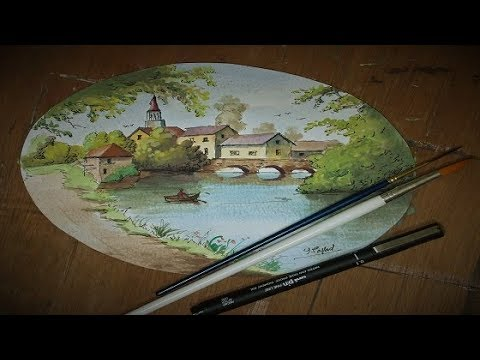 Pen Drawing And Watercolor Painting Landscape With Yasser Fayad