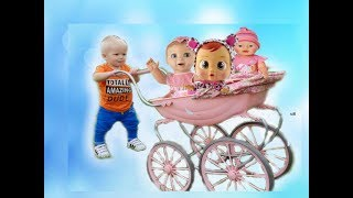 МАЛЫШ УБЕЖАЛ С КОЛЯСКОЙ Эльвира и братик Райан играют в прятки. Куклы пропали.Малыш играет в куклы