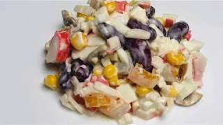 Крабовый салат с грибами   Рецепты салатов