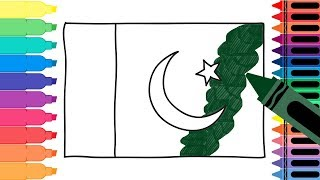 How to Draw Pakistan Flag - Drawing the Pakistani Flag - Coloring Pages for kids | Tanimated Toys