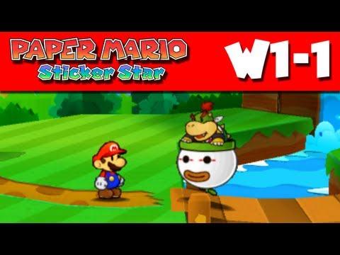 Paper Mario Sticker Star - W1-1 - Warm Fuzzy Plains (Nintendo 3DS Gameplay Walkthrough)