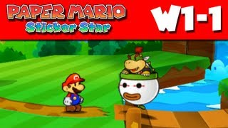 Paper Mario Sticker Star - W1-1 - Warm Fuzzy Plains (Nintendo 3DS Gameplay Walkthrough)