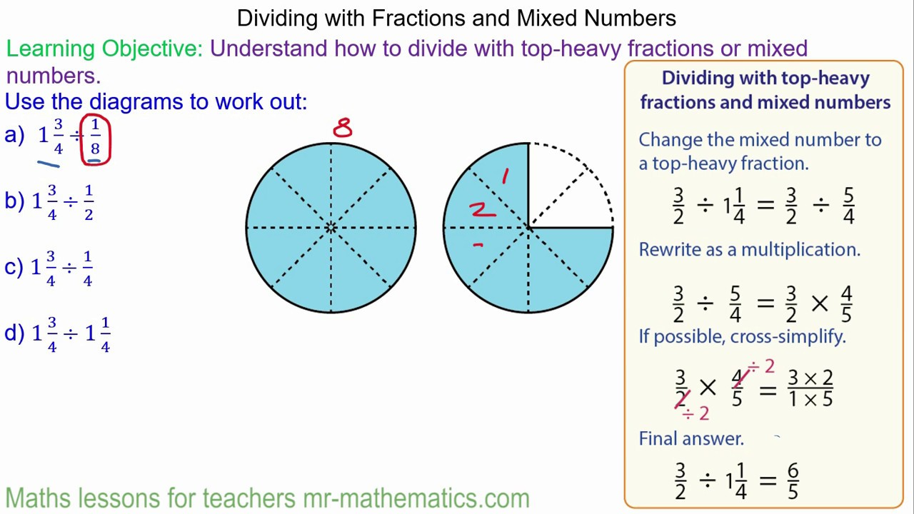 Dividing Mixed Numbers and Top-Heavy Fractions - Mr-Mathematics ...