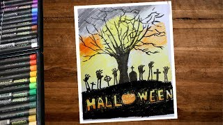 Halloween Drawings With Oil Pastel Step By Step - Haunted Place Drawing